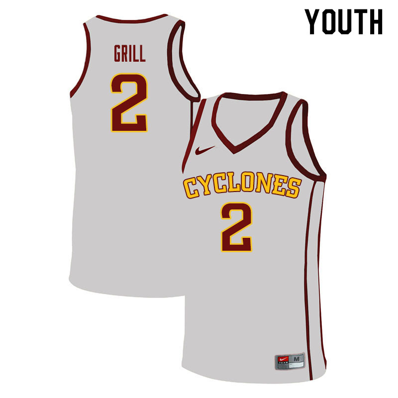Youth #2 Caleb Grill Iowa State Cyclones College Basketball Jerseys Sale-White