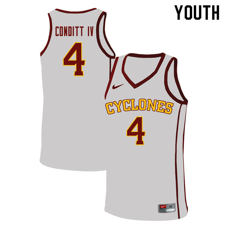 Youth #4 George Conditt IV Iowa State Cyclones College Basketball Jerseys Sale-White