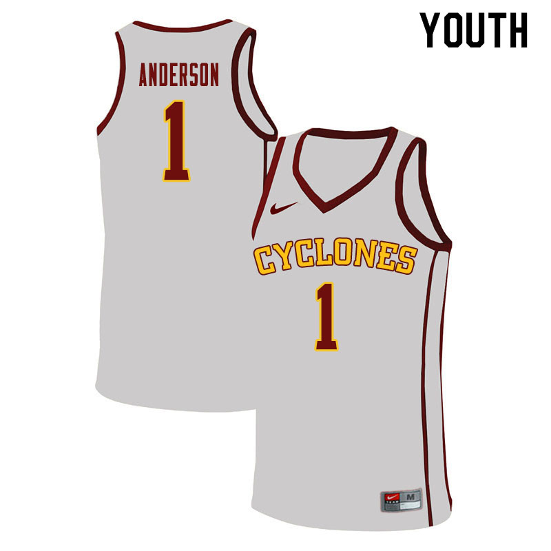 Youth #1 Luke Anderson Iowa State Cyclones College Basketball Jerseys Sale-White