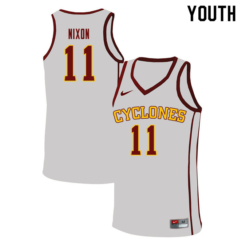 Youth #11 Prentiss Nixon Iowa State Cyclones College Basketball Jerseys Sale-White