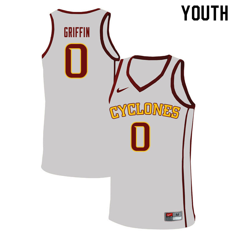 Youth #0 Zion Griffin Iowa State Cyclones College Basketball Jerseys Sale-White