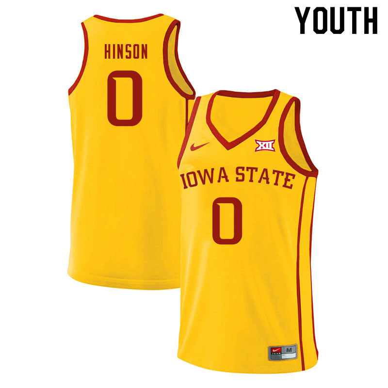 Youth #0 Blake Hinson Iowa State Cyclones College Basketball Jerseys Sale-Yellow