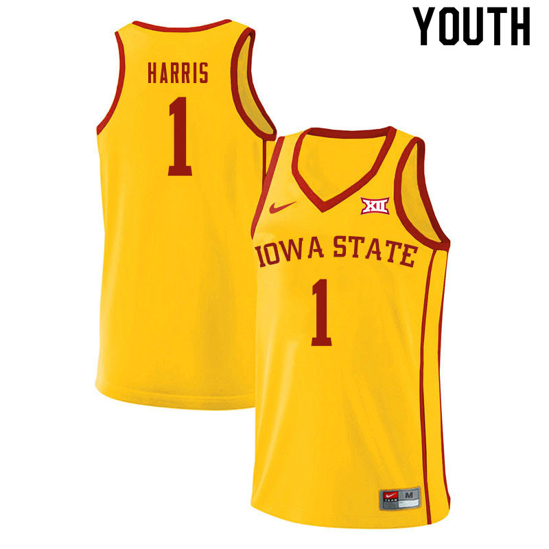 Youth #1 Tyler Harris Iowa State Cyclones College Basketball Jerseys Sale-Yellow
