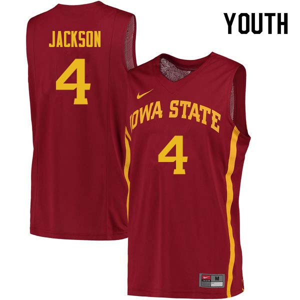 Youth #4 Donovan Jackson Iowa State Cyclones College Basketball Jerseys Sale-Cardinal