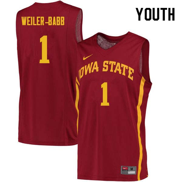 Youth #1 Nick Weiler-Babb Iowa State Cyclones College Basketball Jerseys Sale-Cardinal
